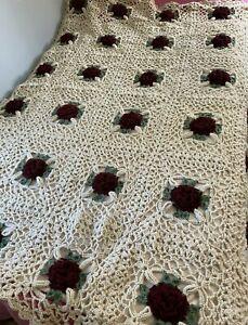 Granny Square Afghan Crochet Throw Blanket 3D Rose Flower 64x80 Grandma Blanket
