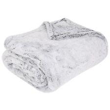 Luxury Shimmer Grey Fleece Throw, Faux Fur Winter Warm Christmas Blanket Throws
