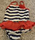 Carters Girls 9 Months Bathing Suit Swimsuit Red White Blue Stripe Ruffle Flower
