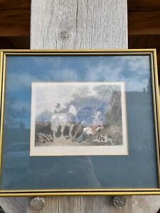 ANTIQUE PRINT HAND COLOURED HUNTING SCENE FRAMED TITLED SEPTEMBER