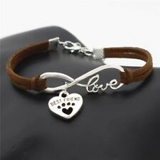 BEST FREIND BFF FAUX LEATHER BRACELET CAT DOG INFINITY CHARM ANIMAL VINTAGE