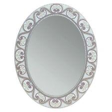 Oval Mirror Bathroom Vanity Wall Mounted Etched Earthtone Mosaic Tile Home Decor