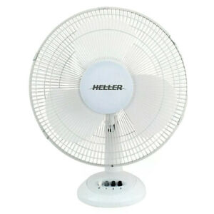 Heller HHDF30S 30cm Desk Fan 3 Speed/Air Cooler/Cooling/Tilt/Oscillating White