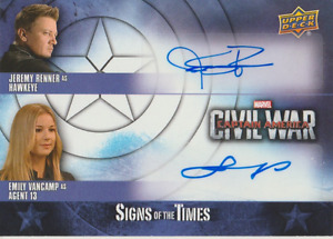Jeremy Renner & Emily VanCamp 2016 UD Marvel Captain America auto card CA-RV