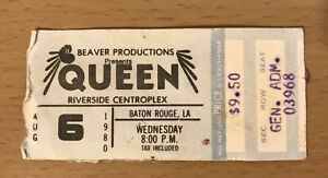 1980 QUEEN THE GAME TOUR BATON ROUGE LA CONCERT TICKET STUB FREDDIE MERCURY 968