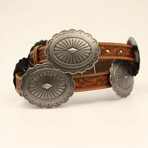 Silver CONCHO BELT ~ ARIAT Brown Leather Western BELT ~ COWGIRL A1530508 20