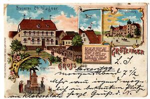 Litho Gruss aus Grötzingen b.Karlsruhe mit Brauerei Ch.Wagner, beschrb.,um 1900