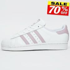 Adidas Originales Superstar Para mujeres Cuero Clásico Retro Entrenadores Blanco Grado B