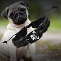 Love Pug Dog Black Vegan Leather Adjustable Bracelet Free Shipping USA Seller