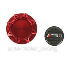 JDM TRD CARBON FIBER Sticker with ALUMNIUM RED Billet Engine Oil FILLER Cap
