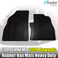 Citroen Nemo Van 2008+ Onwards Tailored Black Rubber Floor Mat Set Mats H-Duty