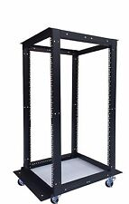 "18U 4 Post Open Frame 19"" Network Server Rack Cabinet Adjustable Depth Wheels"