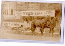 Real Photo Postcard RPPC - Man on Horsedrawn Weeks & Benn Grocery Wagon