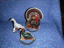 "b. Three Cardboard Litho Turkey Ducks 3 Metal Stands   Turkey 4 5/8"" H w/o Stand"