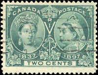 1897 Used Canada F+ Scott #52 2c Diamond Jubilee Issue Stamp