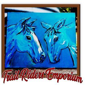 Horse ARTWORK Original Acrylic on Canvas BLUE horse painting unframed