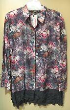 NWT 3J Workshop Johnny Was Cotton Silk Lace Hem Tunic Blouse Size M