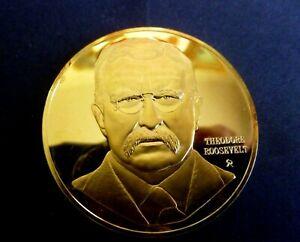 "USA Medal 26th President Theodore Roosevelt 1901-1909""  gold plate 24 karat"
