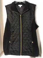 Susan Graver Zip Front Sweater Vest with Quilting Detail Size XS Black Color