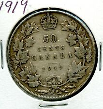Weeda Canada 1919 silver 50c half dollar