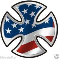 BIKER CROSS WITH AMERICAN FLAG HELMET STICKER TOOLBOX STICKER LAPTOP STICKER