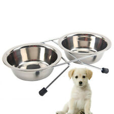 Stainless Steel Double Dog Feeder Bowls Stand Food Water Pet Tray Dish