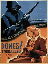 WAR PROPAGANDA WOMEN WORK TRADE UNION SOCIALISM SPANISH CIVIL POSTER 2844PYLV