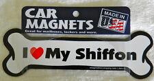 "Dog Magnetic Car Decal - Bone Shaped - I Love My Shiffon - Made in USA - 7"""