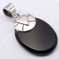 925 Sterling Silver CABOCHON BLACK ONYX Gem HANDCRAFTED Pendant 3.1 CM UNISEX