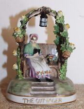 ancienne et belle porcelaine ou faïence a décor de tonnelle jardin fleurs