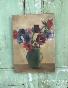 CHARMING Old Vintage Floral POPPY POPPIES Oil Painting On Canvas FLORAL FLOWERS