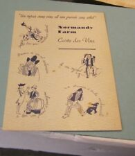 1957 Marjory Hendricks Normandy Farm Restaurant Menu Wine List Potomac Maryland