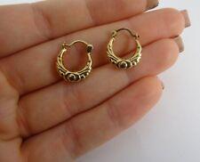 Patterned 9ct Yellow Gold Gypsy CREOLE HOOP Earrings Hm 1.5cm 502n
