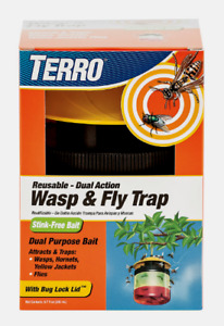New! TERRO Wasp and Fly Trap 6.7 oz Wasps Yellow Jackets Hornets Multi-Use T512
