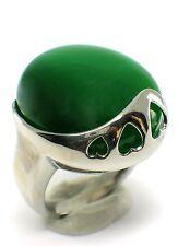 Damen Ring Katzenauge grün edelstein edelstahl Band bret Gr. 16,8; 18,2 mm