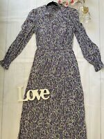 M&S Sizes 10 18 22 purple long sleeve high neck modest floral midi dress boho
