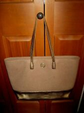 TORY BURCH PURSE TOTE BROWN FELT WOOL GOLD LEATHER SHOPPER LARGE!