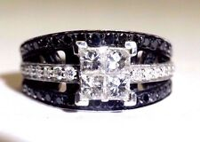 1.5CT Invisible Set Princess Diamond 14K White Gold Engagement Ring Size 6.5