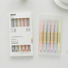 6PCS Double Head Highlighters Crystal Candy Color Drawing Marker Pens Stationery