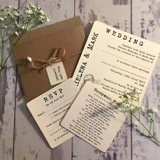 1 Rustic/Vintage/Shabby Chic Style 'Helena' Pocket wedding invitation sample