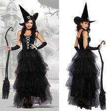 Women Halloween Witch Fancy Dress  Adult Sorceress Outfit Costume Hat Cosplay