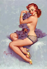 Framed Print - G Elvgren Pin Up Girl Half Naked with Feather Boa (Picture Poster