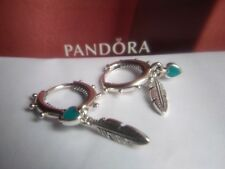 Pandora Spiritual Feathers Turquoise Heart Hoop Earrings.  S925 ALE  297205EN168