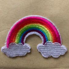 Rainbow with Clouds Colourful Iron on Applique Patch