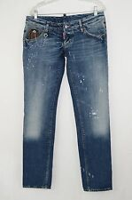 DSQUARED Distressed Skinny Boyfriend Jeans w/ Key & Paint Spatter Size 46 AUTH