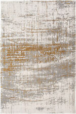 De Poortere Deco Distressed Faded MAD MEN Griff Columbus Gold Grey 8419 Area Rug