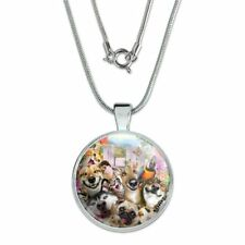 """Pet Animals Selfie Dogs Cats Rabbit 1"""" Pendant w/ Silver Plated Chain"""