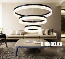 Modern Acrylic Aluminum Round Black Chandelier Pendant LED Light Ceiling Lamps
