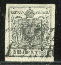 1850 10 C. GRIGIO NERO 1° TIRAT SAS. n° 2b FRESCO,MARGINATO,BEN ANNULLATO. RARO
