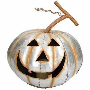 Silver Pumpkin Jack O Lantern Halloween Light Up Candle Metal Decoration Garden